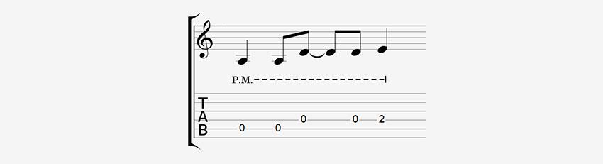 Cómo leer palm mute en tabs de guitarra