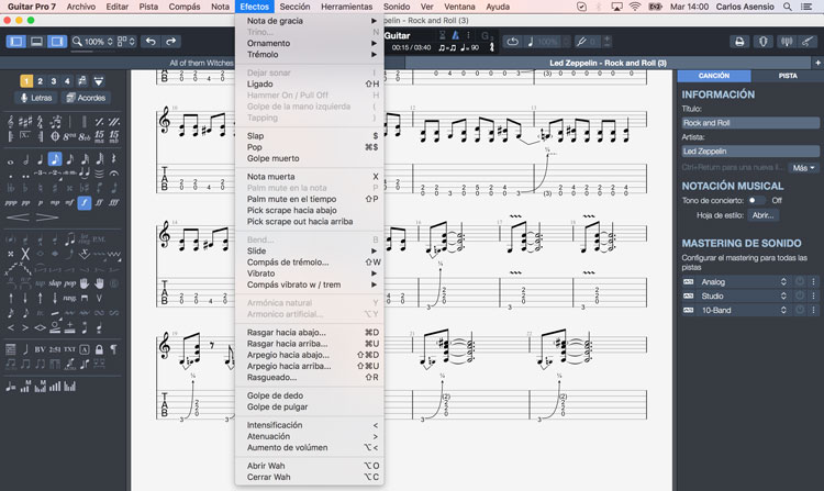 review guitar pro 7 - nuevos efectos